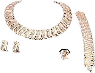 المرأة 18 كيلو الذهب مطلي تألق واسعة قلادة أقراط كريستال سوار مجموعة المجوهرات