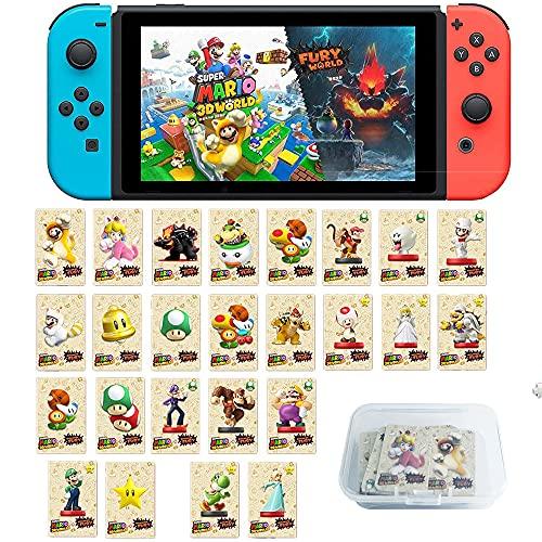 Coltum 25 Stück NFC Tag Mini-Spielkarten für Super Mario 3D World + Bowser's Fury, NFC Amiibo-Karte Kompatibel für Switch/Switch Lite mit Aufbewahrungskoffer