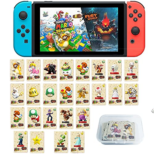 Coltum 25 Stück NFC Tag Mini-Spielkarten für Super Mario 3D World + Bowser's Fury, NFC Amiibo-Karte Kompatibel für Switch/Switch Lite/Wii U mit Aufbewahrungskoffer