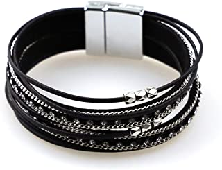 Multi-Layer Leather Bracelet Bohemian Bangle with Alloy Magnetic Clasp Braided Wrap Cuff Bangle Jewelry for Women