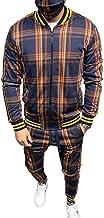 U/N Plaid Suit Basketbal Trainingspakken voor Mannen, Ritssluiting Geribbelde Manchet en Zoom Sweatshirt Pak Uitloper