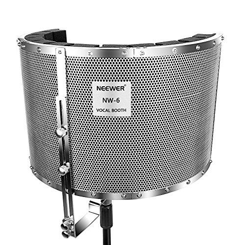 Neewer Protector Filtro Micrófono Amortiguador Cabina de Aislamiento Vocal con Panel de Aluminio Ligero, Espumas Gruesos de Insonorización, Soportes y Tornillos con Rosca 5/8'