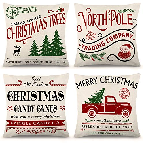 ZJHAI Christmas Pillow Covers 20×20 Inch Set of 4 Farmhouse Pillow Covers Holiday Rustic Linen Pillow Case for Sofa Couch Christmas Decorations Throw Pillow Covers
