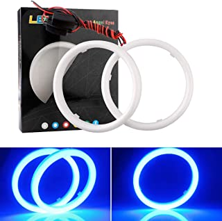 EverBright 1Pair Blue 90MM Car Led Cotton Lights Angel Eyes Halo Rings COB Light Circle Ring Headlight Lamp with Housing 12V 24V