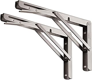 "YUMORE Folding Shelf Brackets 12"", Max Load: 330lb Heavy Duty Stainless Steel Collapsible Shelf Bracket for Table Work Bench, Space Saving DIY Bracket, Pack of 2"