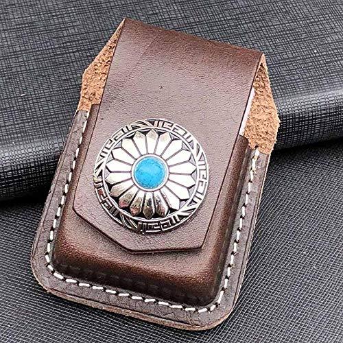 Cigarette Tin Cigarette Case For Roll Ups Cigarette Box Leather Handmade Cigarette Lighter Holder Bag Oil Lighter Case For Men Gift-Khaki