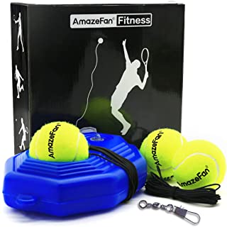 AmazeFan Tennis Trainer Rebound Baseboard with 3 Long Rope Balls Great for Singles Training, Self-Study Practice, Tennis Training Tools for Kids Adults Beginners