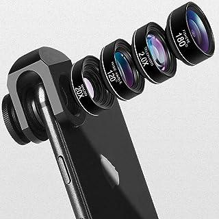 AORO スマートフォン用カメラレンズ 20Xマクロレンズ 180°魚眼レンズ 120°広角レンズ 2X望遠レンズ 4点セット iphone、sony、sharpとファーウェイなどに対応 スマホレンズ 高画質 簡単な装着