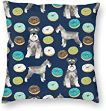 Pillowcases Schnauzers Donuts Cute Donuts chnauzers Dog Cute Dog for Sofa Bedroom livingroomTwo Sides Printing 18x18 inch