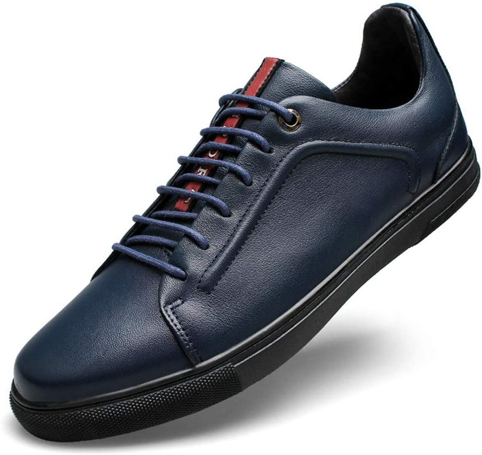 Color : Blue, Size : 9 US Mans Casual Lace Up Shoes Comfortable Leather Shoes Straightset Sneakers 23-28cm Mens Leather Dress Shoes Slip On Plain Toe Loafer