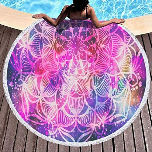 COMBON Shop Toalla de playa redonda de gran tamaño psicodélico, color morado, para playa, color blanco, 59 pulgadas