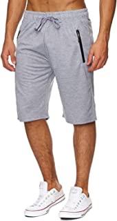 Mens Elastic Waist Drawstring Summer Workout Shorts with Zipper Pockets