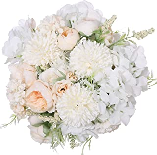 Nubry 3pcs Artificial Flowers Bouquet Fake Peony Silk Hydrangea Faux Roses Wildflowers Arrangements with Stems for Wedding Home Centerpieces DIY Decor (White)