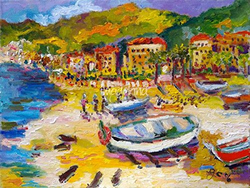 Imagekind Wall Art Print Entitled Vacationing On The Italian Riviera Oil Painting by Ginette Callaway | 48 x 36