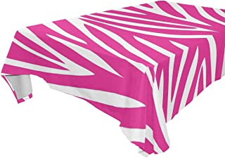 LORVIES Rectangle Pink Zebra Print Tablecloth for Wedding Party Holidays Washable Polyester Table Cloth Cover, 54 x 54 Inch