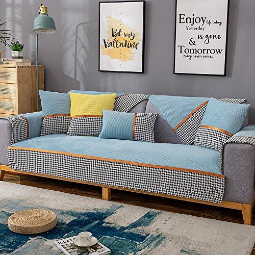Suuki Fundas Sofa Chaise,Forro de Sofa,Protector de sofá seccional de Tela en Forma de L,Fundas de sofá de Esquina para sofá de Cuero,Fundas de Asiento de sofá Antideslizantes de Alta eficiencia-Azul