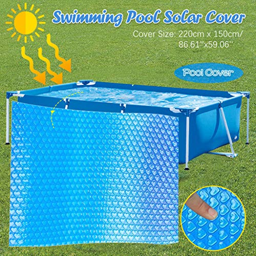 ZZXIAN Solarabdeckplane Blau 260 X 160 cm Rechteckig FüR Frame Pool, Vinyl Kunststoff Swimming Pool Cover Folie Mit Lufttpolstern Loch (Blau-220 * 150cm)