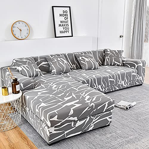 WXQY Funda de sofá Chaise Longue Funda de sofá de Esquina en Forma de L Funda de sofá de Sala de Estar Flexible Funda combinada A1 4 plazas