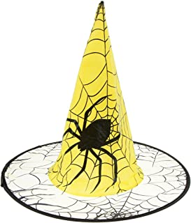 Halloween Witch Hat Scary Spider Design Party Hat for Halloween Witch Costume Accessory - Yellow
