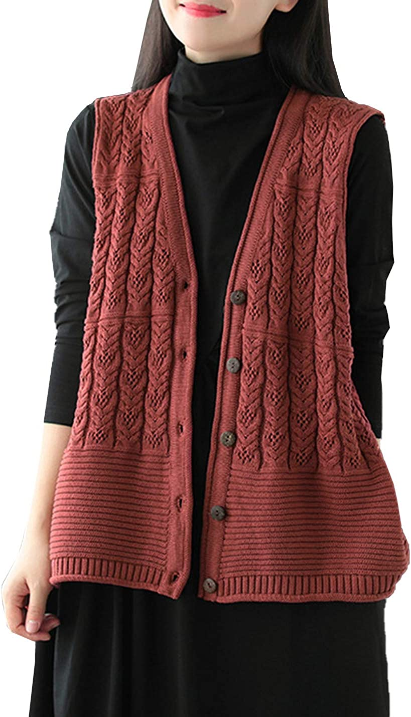Flygo Women's Sweater Vest V Neck Button Down Sleeveless Cable Knit Cardigan Outwear