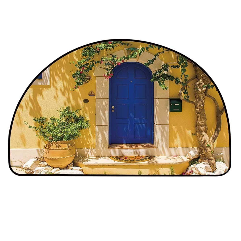 YOLIYANA Yellow and Blue Half Round Door Mat,Traditional Greek House Door with Flowers and Tree Mediterranean Scenery for Indoor Outdoor,25.9