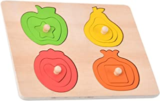 yotijay Kids Stacking Toys Montessori Vegetable Fruit Balance Sets of Columns Educational Shapes Recognition Baby Gifts En...