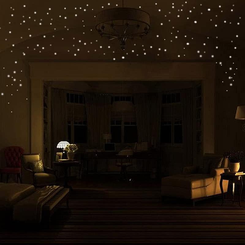 HJuyYuah Glow In The Dark Star Wall Stickers 407Pcs Round Dot Luminous Kids Room Decor