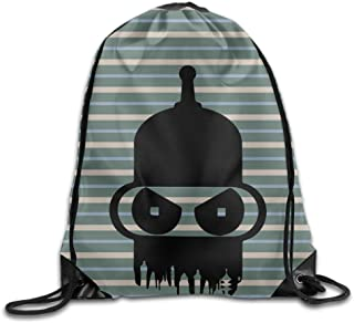 MDSHOP Futurama Bender Head Drawstring Backpack Sack Bag
