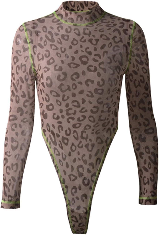 Womens Leotard Tops Leopard Print Long Sleeve Mesh Fall Shirts Skinny Bodysuits