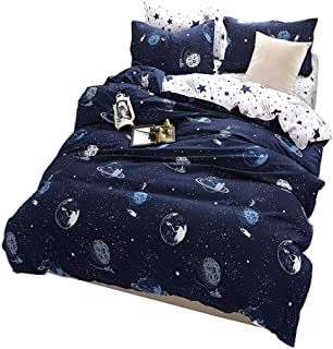 JQWUPUP Cartoon Microfiber Duvet Cover Set Twin Size, Galaxy Planet 3Pcs Bedding Set with Zipper(1 Duvet Cover and 2 Pillow Shams) Gift for Teens Kids Boys Girls, Lightweight Durable (Twin, Universe)