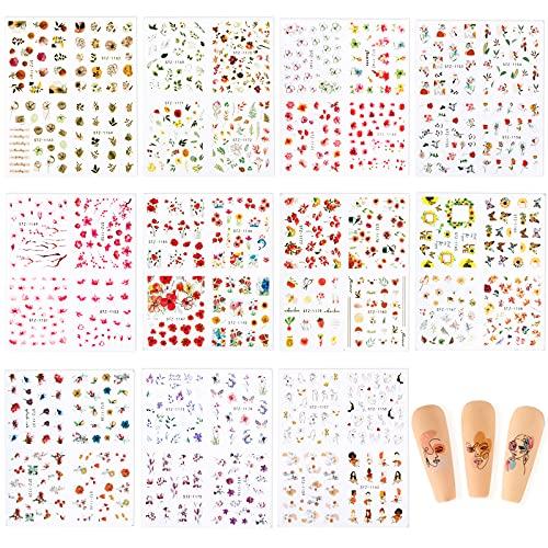 FLOFIA 11 Blätter Wassertransfer Nagel Sticker Blumen Nagel Aufkleber Tattoos Selbstklebend 44 Type Sommer Nagelaufkleber Set Nagelkunst Zubehör Maniküre DIY Nails Art