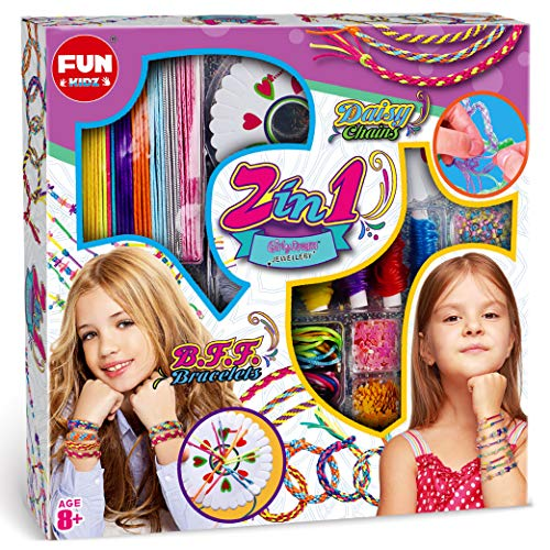 Bracelet Making Kit for Girls, FUNKIDZ 2-in-1 Make Your Own JewelryFriendship Bracelet Kit with Daisy Chain BFF Bracelet Kit for Kids Age 8 and Up