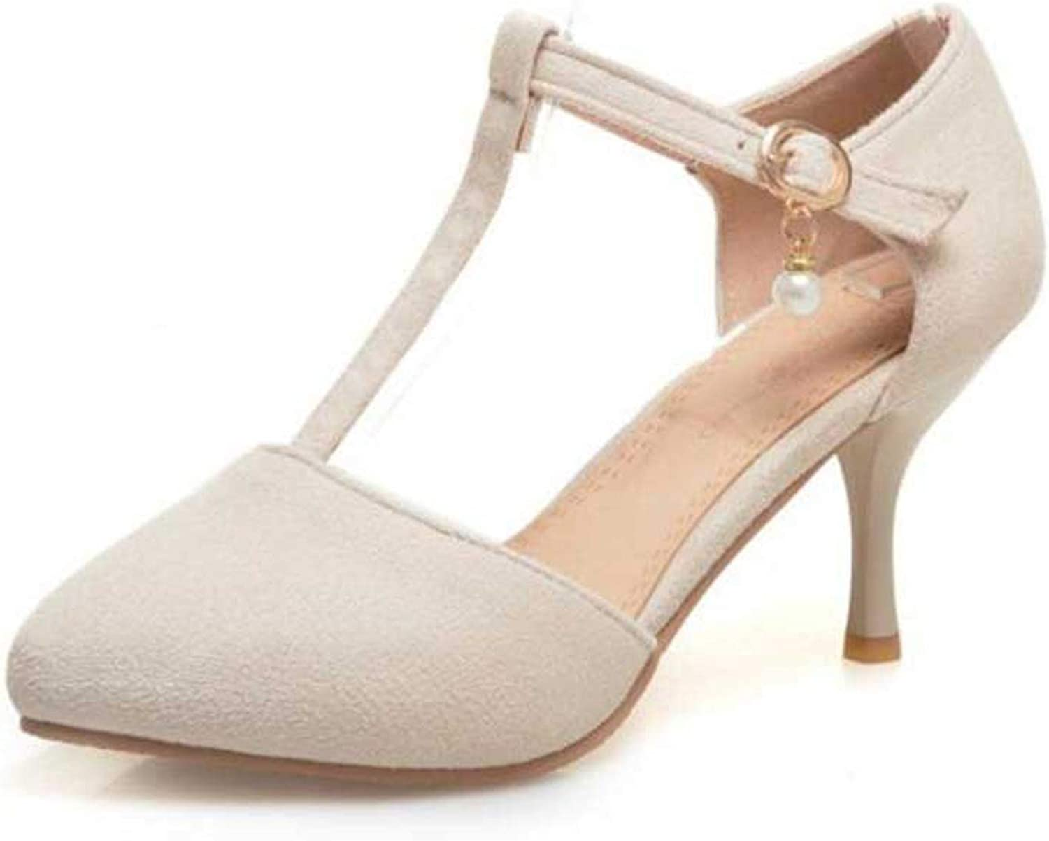 April With You Big Size 31-48 Women High Heel Sandals Sexy Pointed Toe T-Strap Ankle Strap Summer Wedding shoes