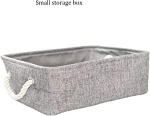 ZQSB Waterproof Collapsible Storage Basket  Canvas Linen Storage Basket  Two Cotton Rope Handles  Easy Clean and Carry  Suitable for Books Magazine Toy Headphone Cable S