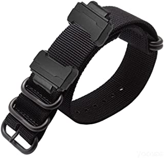 YOOSIDE Nylon Watch Band with Stainless Steel Buckle for Casio G-SHOCK GW-DW5600 GA-100 (Black)