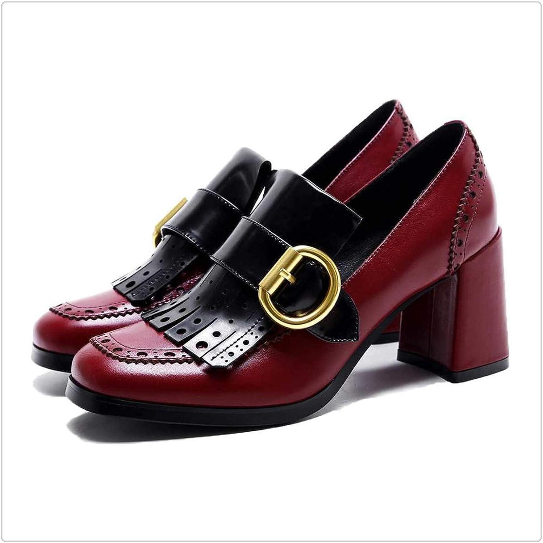 KKEPO& shoes high Heel Genuine Leather Metal Buckle Tassel Hollow Slip on Women Pumps