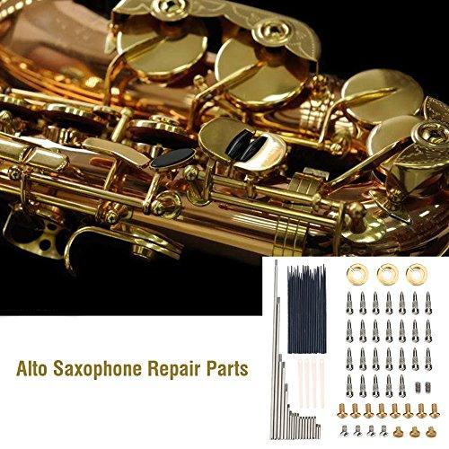 Juego de piezas de reparación de saxofón alto 1 juego de almohadillas para saxofón alto, kit de mantenimiento de rodillos + resortes de aguja + lengüetas +...