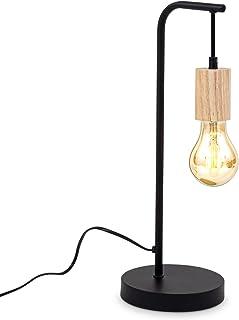 B.K.Licht Lampe de table rétro I douille E27 I câble avec interrupteur I métal I bois noir I sans ampoule