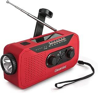 Geartist GTR66 ソーラーラジオ 手回しラジオ USB充電ラジオ AM/FM携帯ラジオ 天気報告ラジオ 2000mAh電池容量 イヤホンジャック 充電インジケータ 高輝度LED懐中電灯付き 緊急 災害時用パワー・バンク1年保証 (赤)