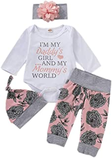 Hose S/äuglingsspielanzug Outfit Set Baby M/ädchen Blumendruck Kleidung Set Neugeborenen Langarm Body