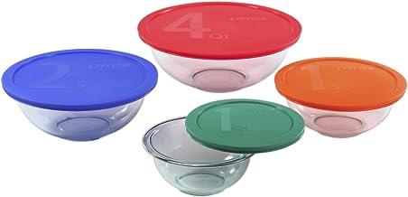 Pyrex 1123266 Smart Essentials Glass Bowls with Multi Colour BPA Free Plastic Lids, (8-Piece Set)