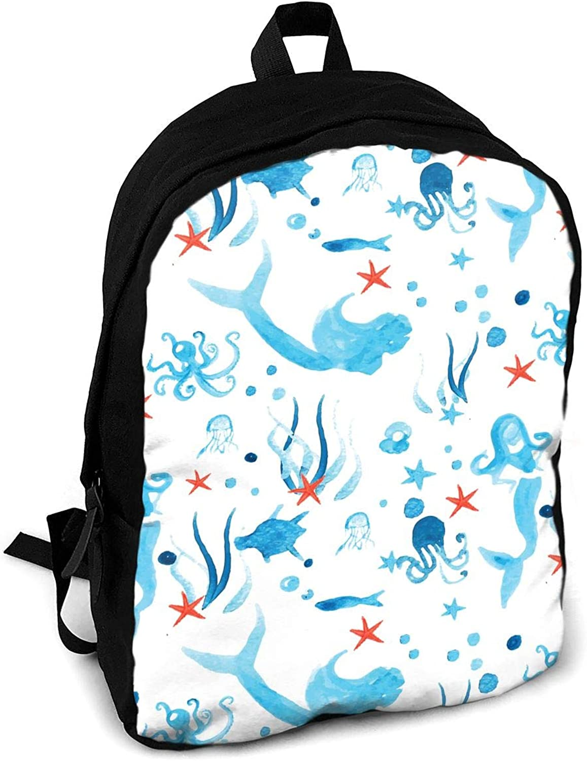 YISHOW Marine Watercolor Women Men for Casual School Bag Outdoor Travel Camping Backpack