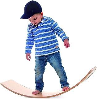 Funpeny Wooden Balance Board, Wobbel Balance Board Kid Yoga Board Curvy Board Wooden Rocker Board, 31 Inch Kid Size Wooden...