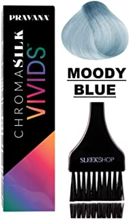 Pravana ChromaSilk VIVIDS Hair Color Shades with Silk & Keratin Amino Acids Dye (with Sleek Brush) Haircolor (Moody Blue)