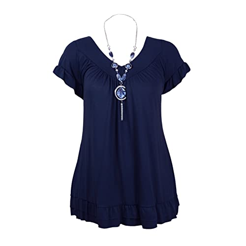 bd76d04918 Womens Ladies Plus Size Frill Necklace Gypsy Ladies Tunic Short Sleeve Long  V Neck Tops 12