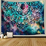 Mandala Boho Tapestry, Hippie Psychedelic Trippy Tapestry Wall Hanging, Bohemian Flower Tapestry for Bedroom, Aesthetic Wall Hanging Tapestry for Yoga Bedroom Living Room Dorm Wall Decor Art Tapestry 71x60 inches