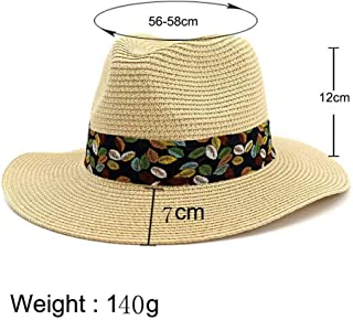 Hats and Caps Vintage Summer Beach Sun Visor Cap for Women Panama Hat Men Straw Fedora Male Sunhat Chapeau Cool Jazz Trilby Cap (Color : Beige, Size : 56-58CM)