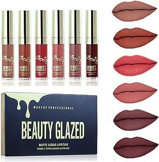 Beauty Glazed 6PCS Sexy Mate Brillo Labial Lápiz Labial Líquido de larga Duración Hidratante Impermeable Maquillaje Prof...