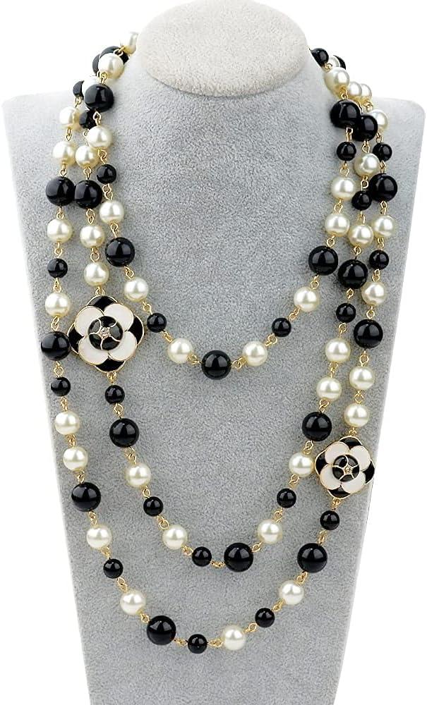 MISASHA fashion jewelry designer faux imitation pearl flower charm long strand necklace for women
