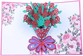 Greeting Card,Father'S Day Card Anniversary Mother'S Day Happy Birthday 3D Cutting Greeting Cards Handmade Gift Rose Flowers,Rose